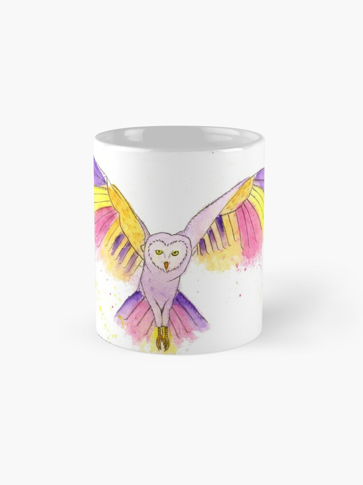 Alternate view of Number 10 in my series of strange birds is the Oogling Multi-Colored Owl Mug