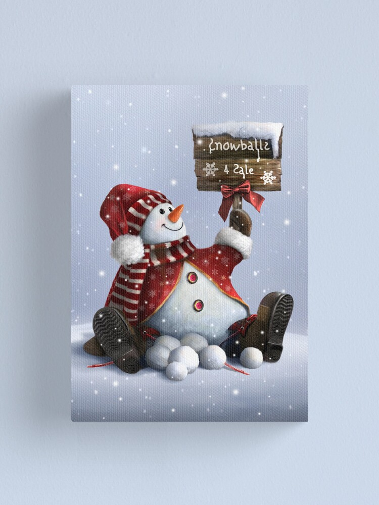 Alternate view of Xmas-Snowman Canvas Print