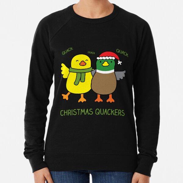 Christmas Quackers, Holiday duck pun! Lightweight Sweatshirt