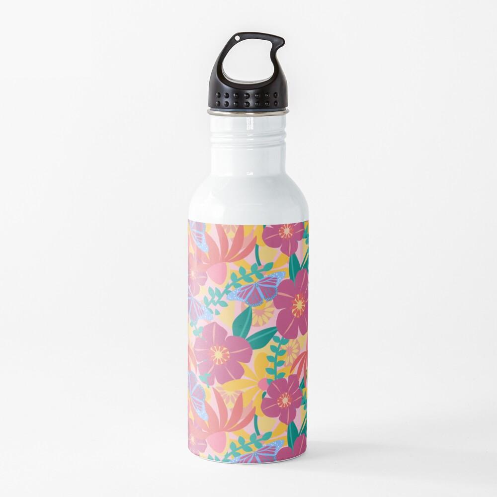 Caroline's Blue Monarch Butterflies and Flowers Water Bottle