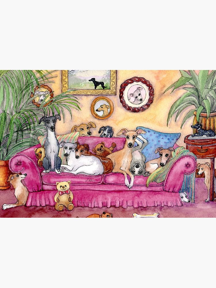 This is our sofa. So - where's yours? Greyhounds and whippets on the couch. by SusanAlisonArt