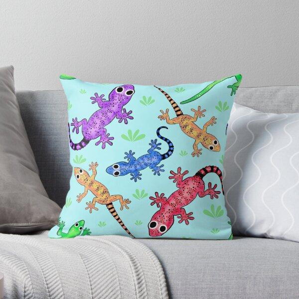 Geckomania (Light Cyan) Throw Pillow