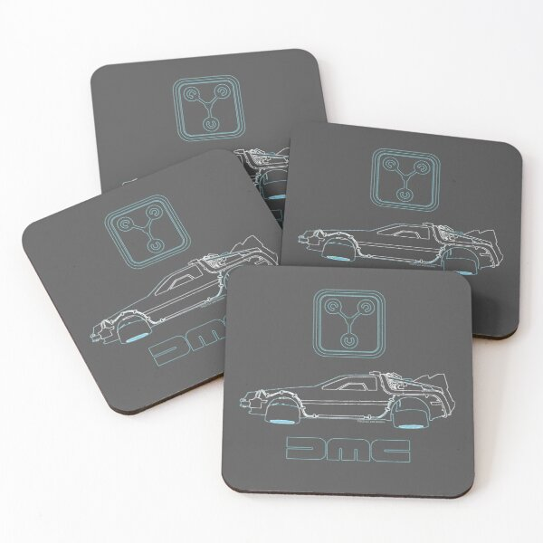 Delorean and Flux Capacitor - Back to the Future Coasters (Set of 4)