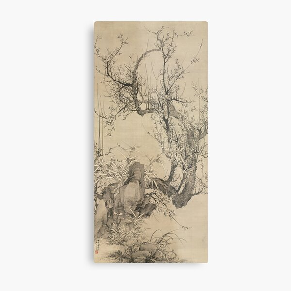 Plums, Bamboo, and Orchid by Yamamoto Baiitsu Metal Print