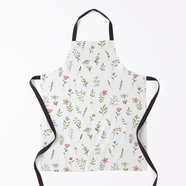 Simple Flowers Line Drawing Pattern Colourful Apron