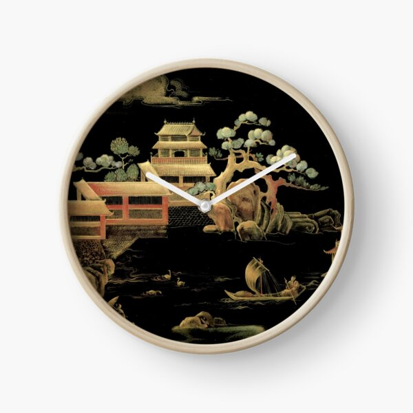 ORIENTAL BLACK GOLD PAGODA JAPAN ASIAN CHINESE THEME PRINT POSTER ART Clock