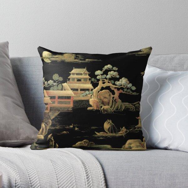 ORIENTAL BLACK GOLD PAGODA JAPAN ASIAN CHINESE THEME PRINT POSTER ART Throw Pillow