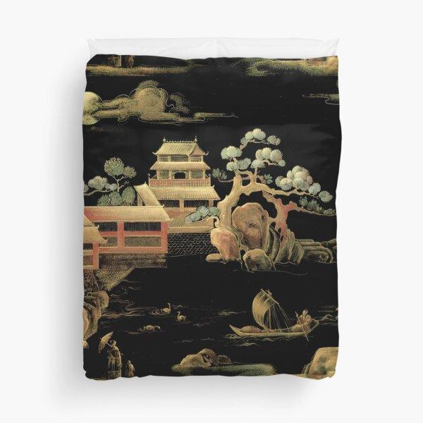 ORIENTAL BLACK GOLD PAGODA JAPAN ASIAN CHINESE THEME PRINT POSTER ART Duvet Cover
