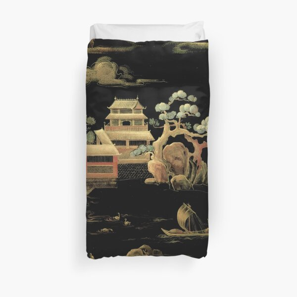 ORIENTAL BLACK GOLD PAGODA JAPAN ASIAN CHINESE THEME PRINT POSTER ART Duvet Cover