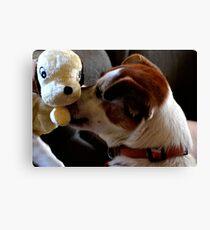 Dog & Toy Canvas Print