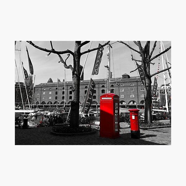 St katherines Dock Post Box Phone Box Photographic Print