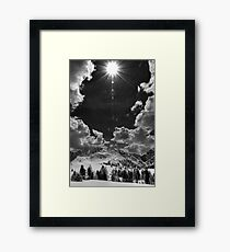 Lámina enmarcada Landscape in the mountains with snow black and white fine wall art - In the Dolomites