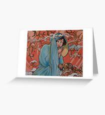 Mucha Winter with Tea Greeting Card