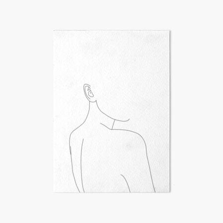 Woman's back line drawing illustration - Alina Art Board Print