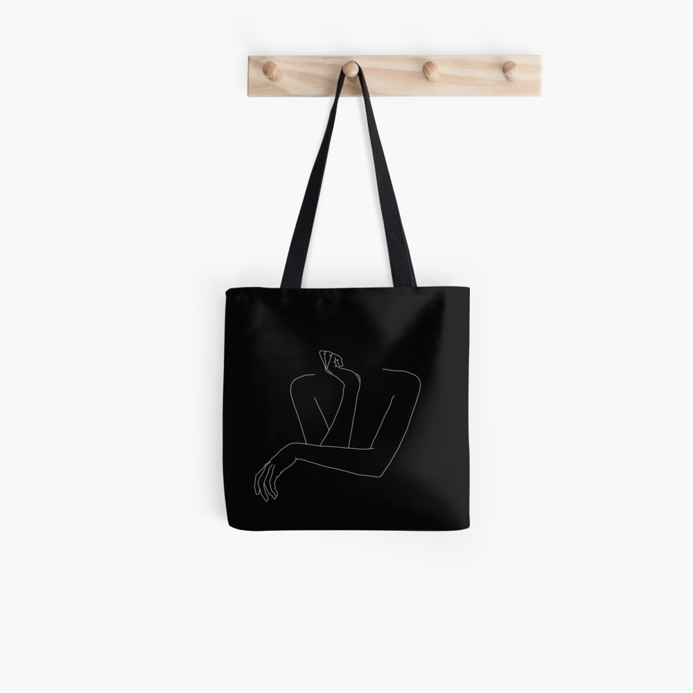 Woman's arms line drawing illustration - Anna Black Tote Bag