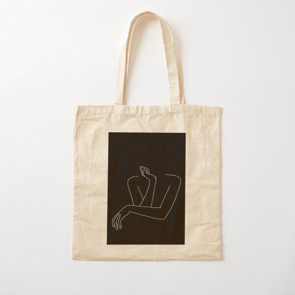 Woman's arms line drawing illustration - Anna Black Cotton Tote Bag