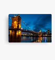 John A. Roebling Suspension Bridge at Dusk Canvas Print