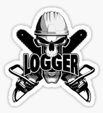 Logger Skull: Crossed Chainsaws Sticker