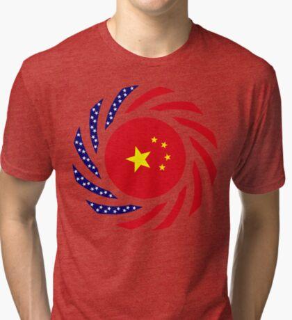 Chinese American Multinational Patriot Flag Series Tri-blend T-Shirt