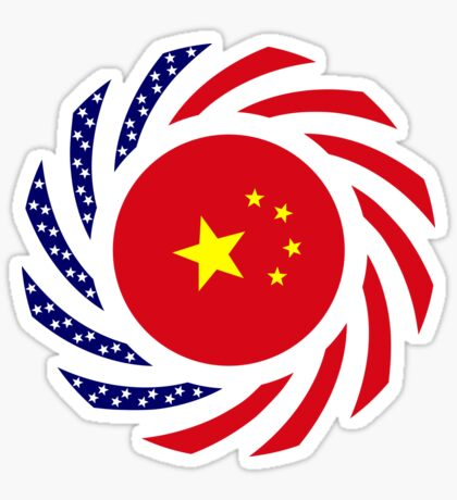 Chinese American Multinational Patriot Flag Series Glossy Sticker