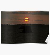 Fine art color landscape sunset on Puget Sound orange sun with dark sea and rocks - Scende il sole Poster