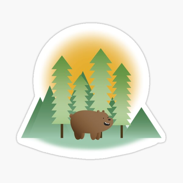 Grizz & Pine Trees - We Bare Bears Sticker