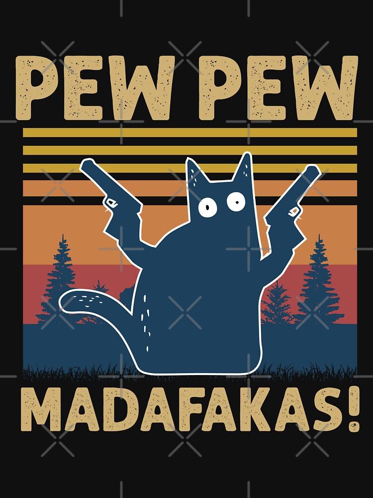 Vintage Retro Black Cat Pew Pew Madafakas! funny cat pew pew madafakas by Mographic1994