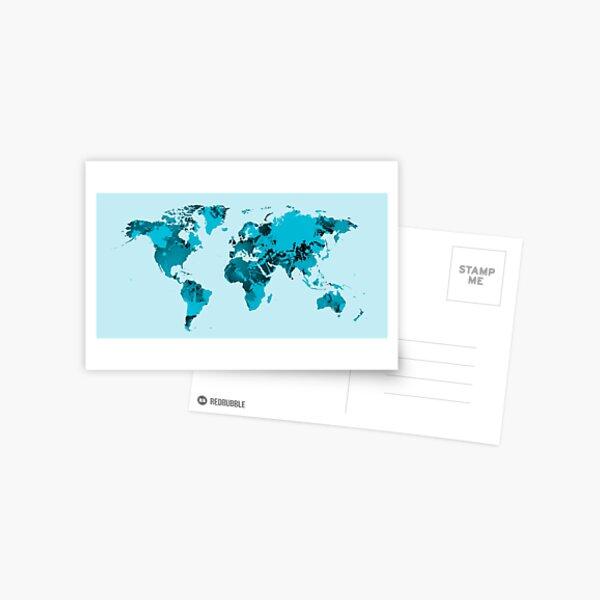 Carte du monde sur les taches bleues Carte postale