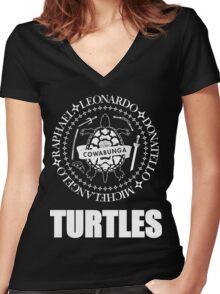 TMNT Ramones Logo Women's Fitted V-Neck T-Shirt