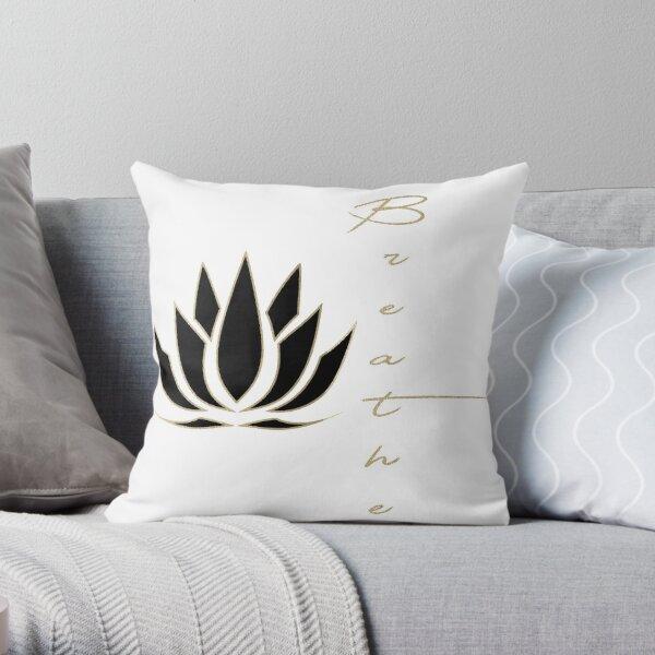 Black Lotus Breathe Throw Pillow