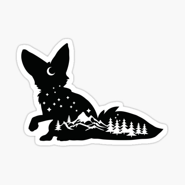 Fox with the mountains inside him at night Sticker