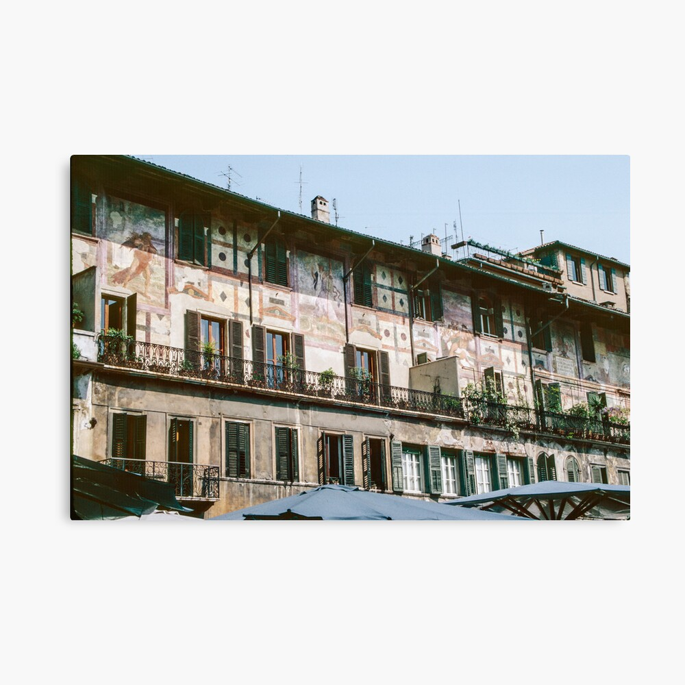 Painted houses along Piazza dei Signori Verona Italy 198404190030 Canvas Print