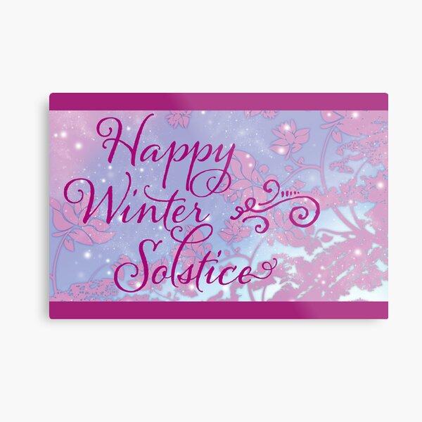 Happy Winter Solstice - Swirly Font, Magenta & Snow Metal Print