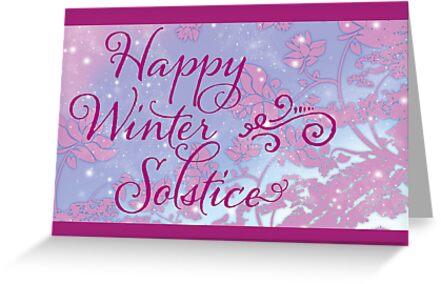 Happy winter solstice swirly font magenta snow greeting cards happy winter solstice swirly font magenta snow by lynne goodman m4hsunfo