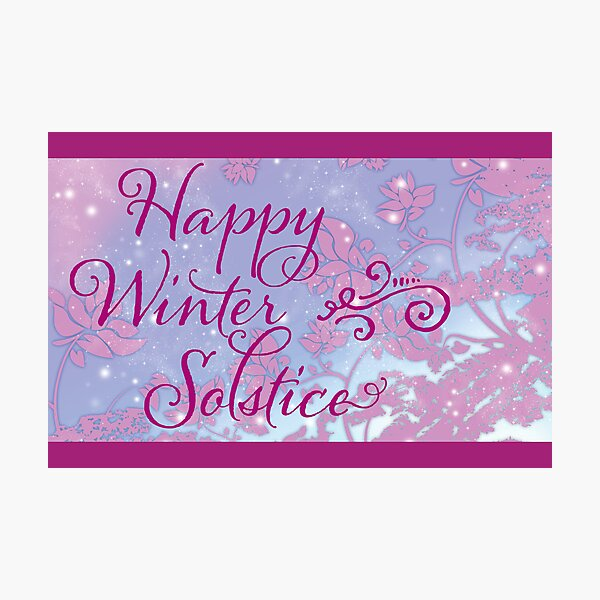 Happy Winter Solstice - Swirly Font, Magenta & Snow Photographic Print