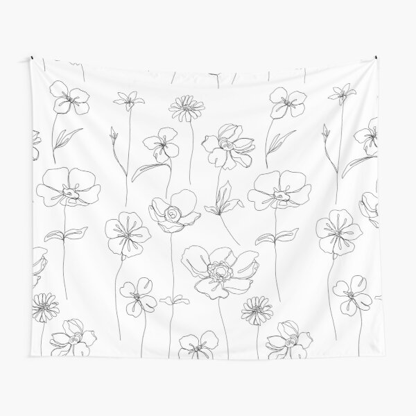 Botanical floral illustration - Botanicals White Tapestry