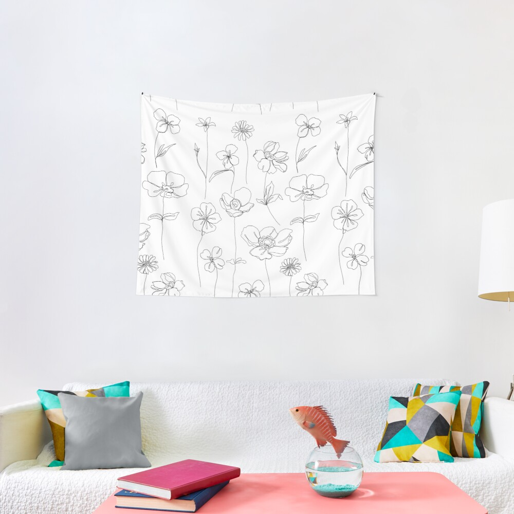 Botanical floral illustration - Botanicals White Tapestry