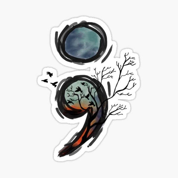 Semicolon Birds & Trees Mental Health Hope  Sticker