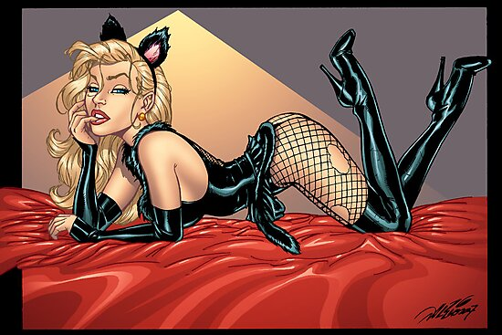 Sexy Blond Kitty Cat by Al Rio by alrioart