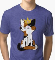 Calico Cat Princess with Gold Crown Tri-blend T-Shirt