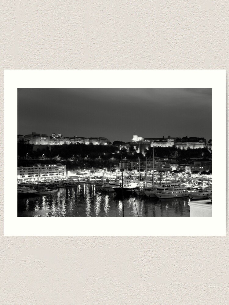 Alternate view of Monaco palace and bay Art Print