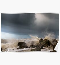 Waves crashing at Hope Gap, East Sussex Poster