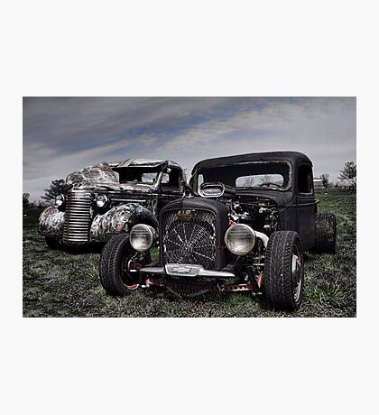 1936 Chevrolet and 1939 Chevrolet Rat Rod Pickup Trucks Photographic Print