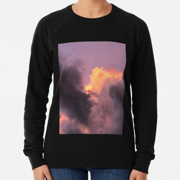 The clouds, Natures Beauty, Clouds, Orange, Gray  Lightweight Sweatshirt