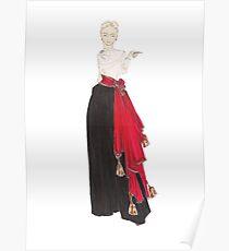 Fashion Illustration 'Red Scarf' Fashion Art Poster