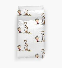 Calvin And Hobbes playing Duvet Cover