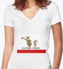 Yogi Bear California Women's Fitted V-Neck T-Shirt