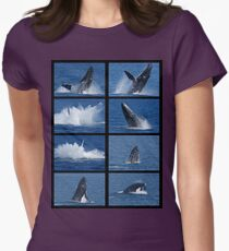 Humpback Whales Breaching 3 Womens Fitted T-Shirt