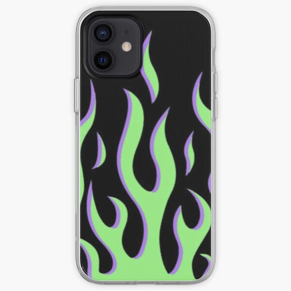 green and purple flames iPhone Soft Case