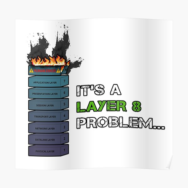 IT'S A LAYER 8 PROBLEM... - Burning OSI Layer 8 Poster